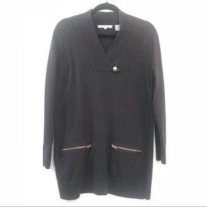 Oversized Grey Longline Sweater Tunic Sheath Dress